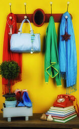colorful entryway with items organized