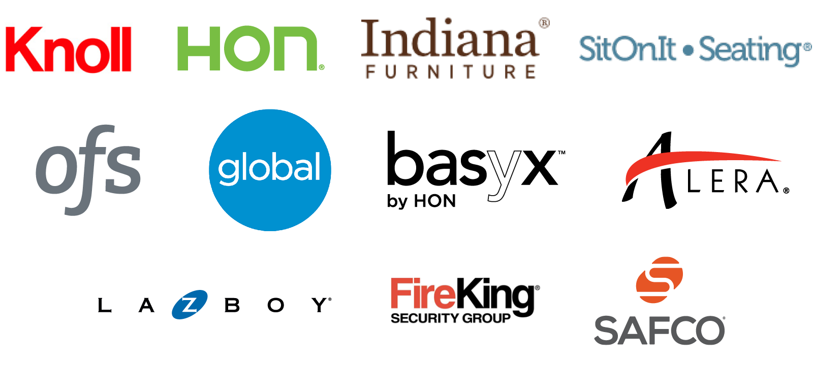 Knoll HON Indiana Furniture SitOnIt Seating OFS Brands Global Basyx Alera La-Z-Boy FireKing Security Safco and more