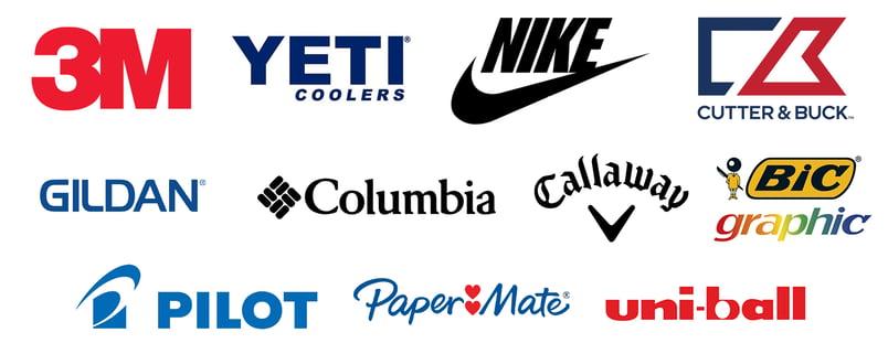 3M Yeti Nike Cutter & Buck Gildan Columbia Callaway BIC Graphic Pilot Paper Mate Uni-Ball