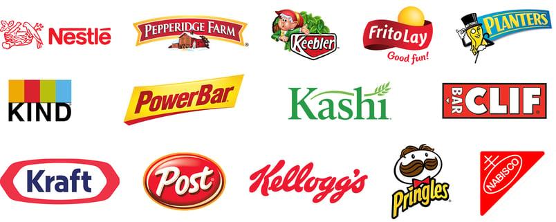 Nestle Pepperidge Farm Keebler Frito-Lay Planters KIND Bars PowerBar Kashi Clif Kraft Post Kellogg's Pringles Nabisco
